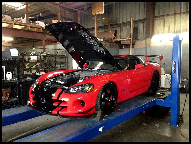 Red and Black 2009 Dodge Viper ACR