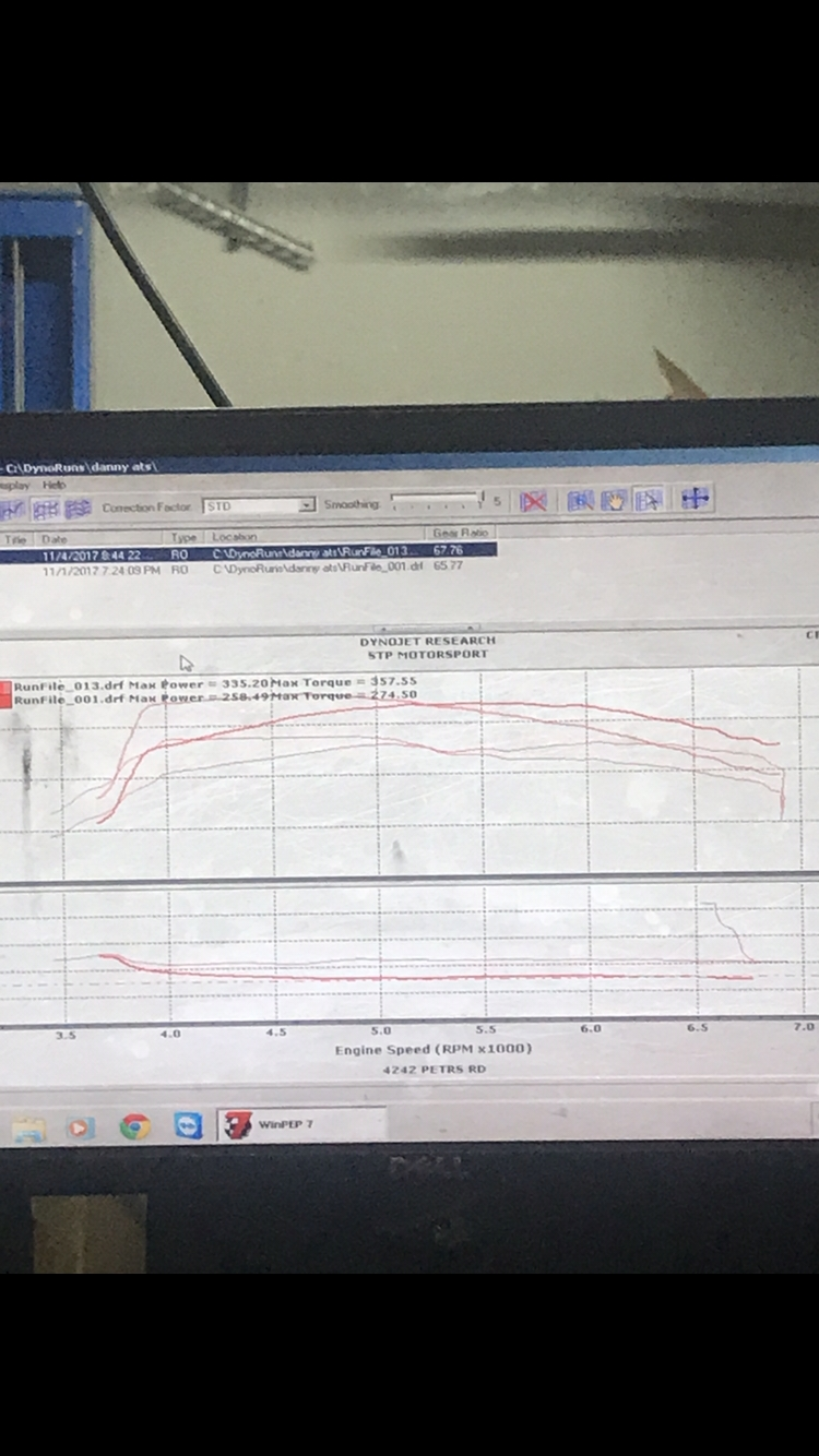 2013 Black Cadillac ATS Performance Dyno Graph