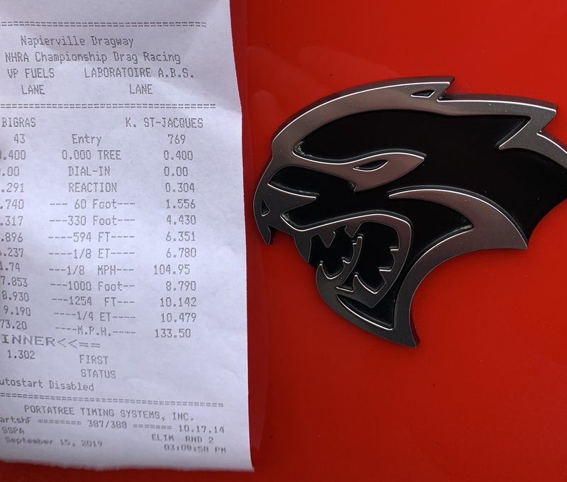 2016 Red Dodge Charger Hellcat  Timeslip Scan